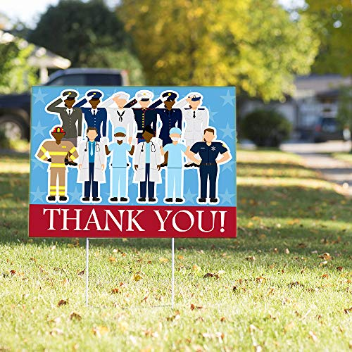 Vispronet Thank You Healthcare Workers, First Responders, and Military Yard Sign – 23in x 17in Weather Resistant Yard Sign with Stake - Creative Design to Thank Your Essential Employees and Military