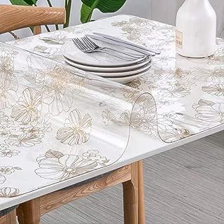 AOUP-Mantel, Mantel De Almohadilla De Plástico Fuerte Transparente De PVC, Mantel De Protección De Vidrio Suave 1.5mm 90x170cm Flor Dorada