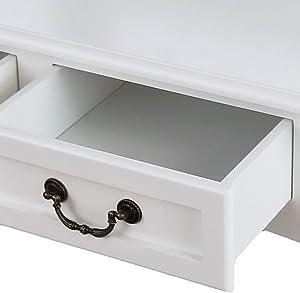 Toeletta 3 Specchio con 4 cassetti Specchiera Tavolo Cosmetici Bianco Lusso tavol da Trucco Stile coloniale Bianco Multifunzionale Tavolino da Toletta Moderno Comò