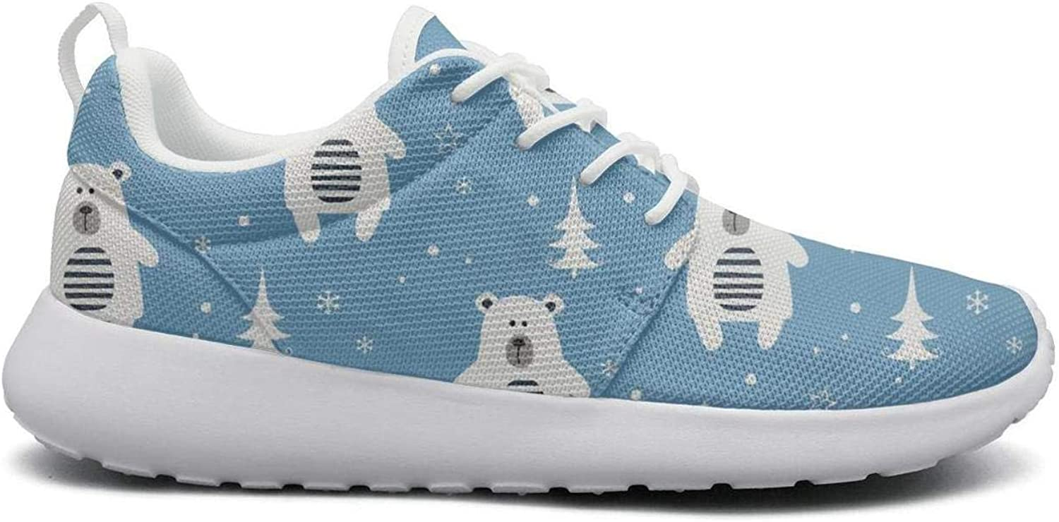 FEWW11 Women Cute Lightweight shoes Sneakers Christmas Polar Bear Snowflake Canvas Upper Running Lace-Up
