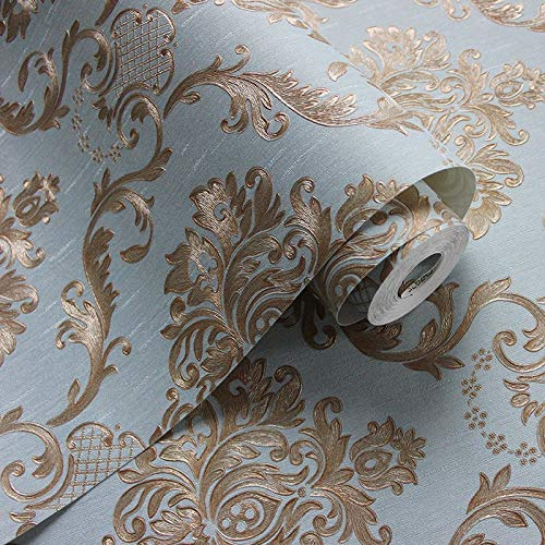 Eurotex Textured Vinyl PVC Coated 3D Sky Blue Damask Wallpaper for Walls Home Decoration (57sqft/Per roll)-6245