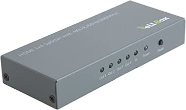 VeLLBox 1X4 HDMI Splitter(Version 2.0), with 4Kx2K@60Hz (600MHz) Full 3D/HD 1080P, 1 in 4 Out, 4 Port HDMI Splitter, V2.0 One Input to Four Outputs, 5V/2A International Power Adapter