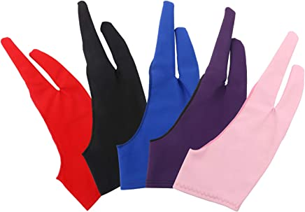 Tablet Drawing Gloves Artist Gloves, Kattool 5PCS Anti Fouling Drawing Gloves 2-Finger Drawing Gloves for Graphic Tablets Digital Panels Pen Display IPad Pro Pencil Art Creations, 5 Colours, Pack of 5