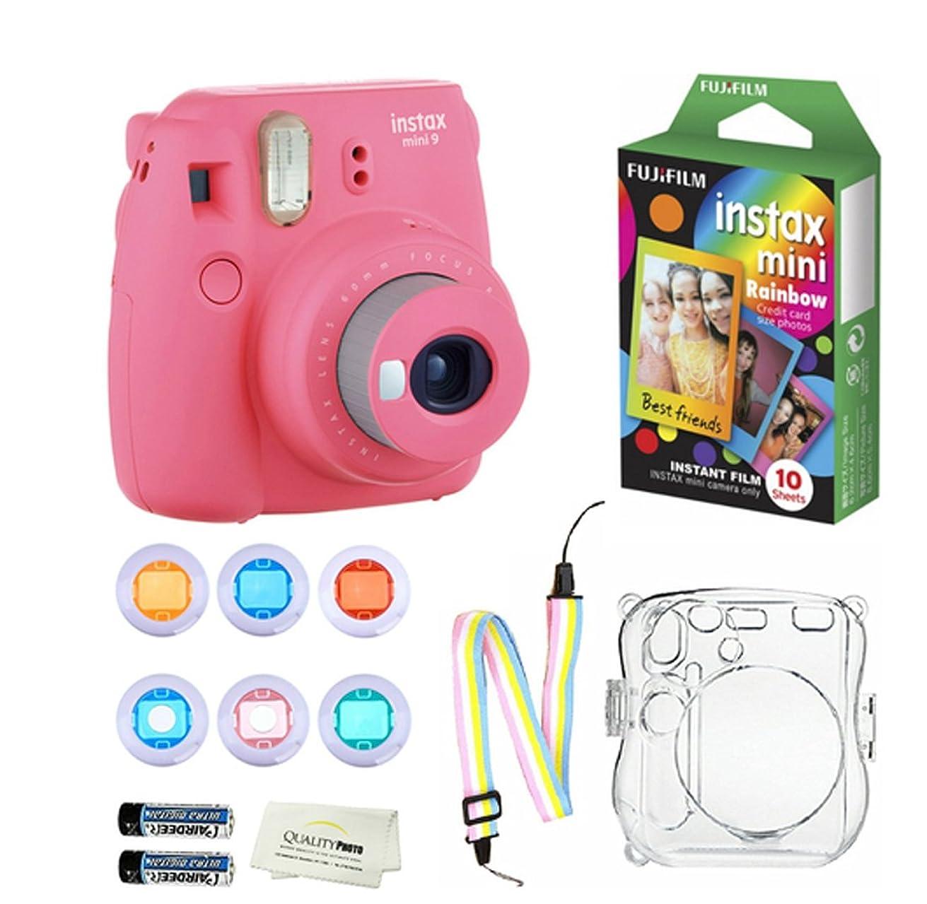 Fujifilm Instax Mini 9 Instant Camera (Flamingo Pink) + 10 Fuji Instant Rainbow Film Sheets + Convenient Instax Clear Case W/ Rainbow Strap + 6-Color Lenses & More