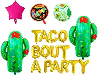 """Mity Rain Taco Bout A Party Foil Balloons - 16"""" Gold Balloons Banner for Mexican Fiesta Party,Cactus Balloon"""