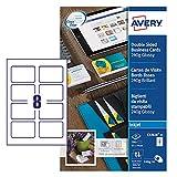 Avery C32028-25 - Tarjetas de visita (85 x 54 mm, 200 unidades, doble cara), color blanco