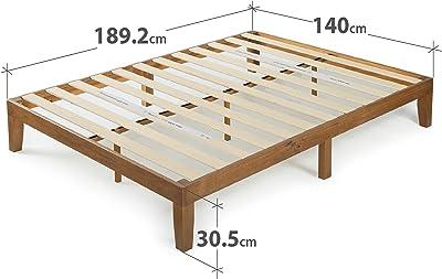 Zinus 30 cm Alexia Sommier Plateforme en Bois | Base Solide en Bois | Support à Lattes en Bois | Facile à Monter | Rangements sous le Lit | 140 X 190 cm | Pin Rustique