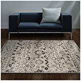 Superior Fawn Collection Area Rug, 8mm Pile Height with Jute Backing, Chic Distressed Floral Medallion Pattern, Fashionable and Affordable Woven Rugs - 4' x 6' Rug, Blue