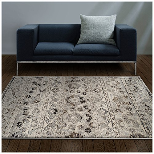 Superior Fawn Collection Area Rug, 8mm Pile Height with Jute Backing, Chic Distressed Floral Medallion Pattern, Fashionable and Affordable Woven Rugs - 8' x 10' Rug, Blue