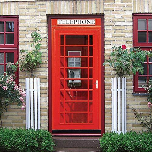 PJDYHA Murales Para Puertas 3D cabina de teléfono Etiquetas Engomadas De la Puerta De DIY 3D CalcomaníA De Vinilo ExtraíBle Adhesivos Pared Para Dormitorio Sala 77 x 200 cm