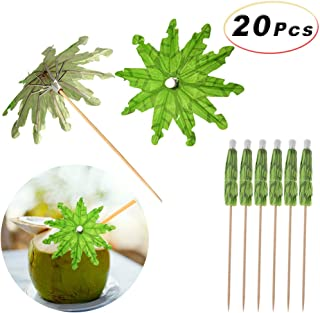 20Pcs Handmade Cocktail, Fruit, Ice Cream Parasol Sticks Green Tropical Coconut Palm Tree Paper Umbrellas Picks Cupcake Toppers Bamboo Toothpicks, 5.9 Inches