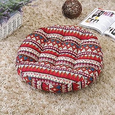 TMJJ Cotton & Linen Floor Pillow Cushion Japanese Futon Square Seat Cushion Thicken Chair Wave Window Pad 21  x 21  (Bohemia(Round))