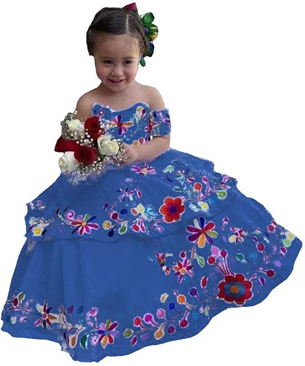 HFAGEMV Colorful Embroidered Flower Girl Dresses for Mexican Wedding Off Shoulder Quinceanera Dress Mini 2021