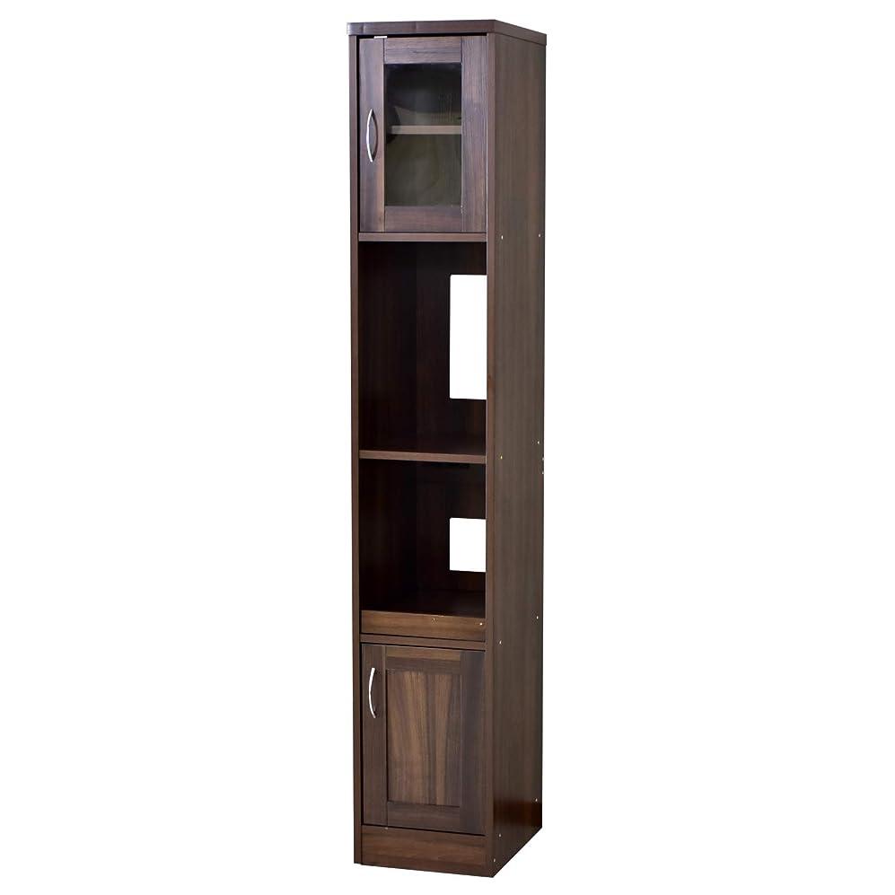 屋内でタイトル受動的DORIS 食器棚 ガラスキャビネット 幅32.5 高さ182 奥行41 キッチン収納 ハイタイプ 可動棚 コンセント付き キッチンボード ウォルナット クリーン30