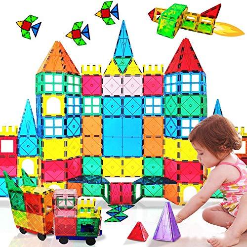 HLAOLA Magnetic Tiles 100PCS Magnetic Building Blocks Tiles Set for Boys Girls Kids Magnetic Tiles Toys 3D Preschool Educational STEM Toys Tiles gifts for Kids Toddlers Children 2 3 4 5 6 7 8 Year Old