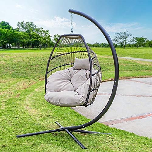 Barton Outdoor Hanging Egg Chair Swing Lounge Chair UV Resistant Soft Deep Cushion Backyard Relax,...