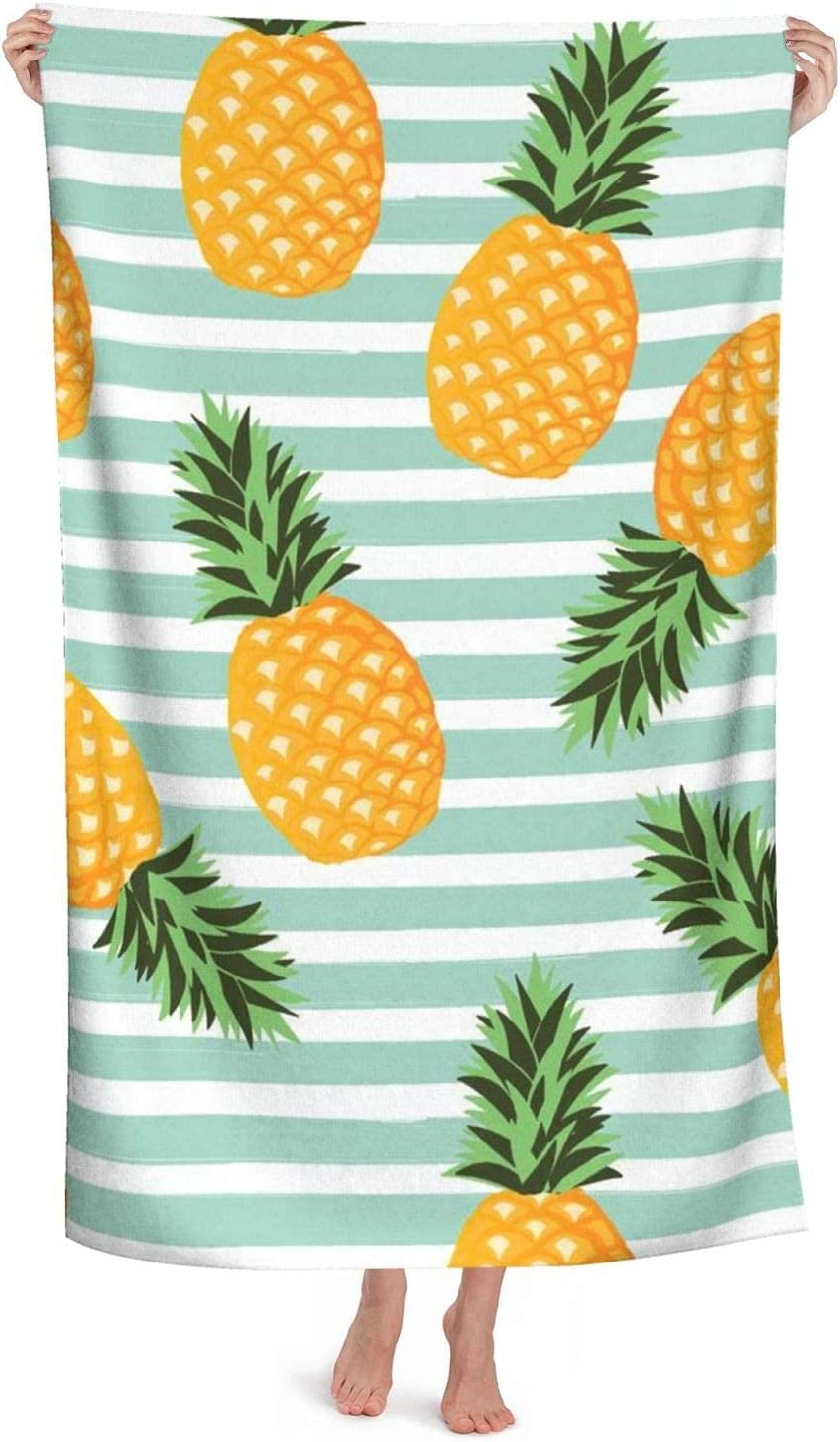 Popular standard cplion Pineapple with Stripes Louisville-Jefferson County Mall Seamless Soft H Pattern Bath Towel