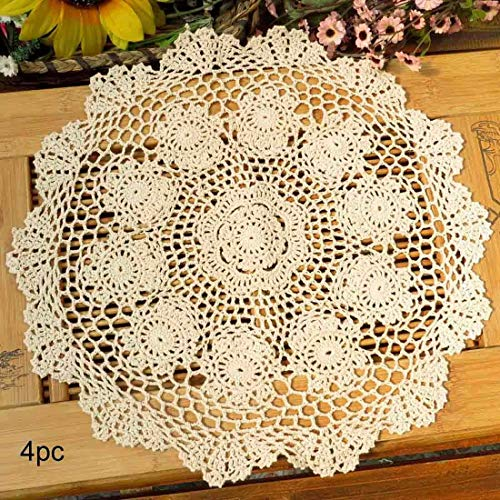 Phantomon Lace Doilies Crochet Cloth Table Placemat Handmade Round Coasters Rosary Doily 100 Cotton Pack of 4 15 inch 40cm x 40cm Beige