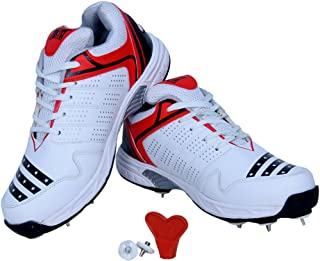 Firefly Men's Howzatt Spike Cricket Shoes White P.U Material Made with Stainless Spikes Set and Key