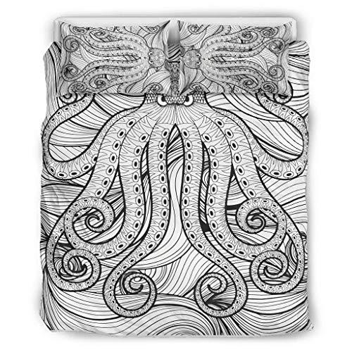 Kraken Octopus im Meer Bettwäsche Sets Western Style 3-teilig Bettbezüge und Kopfkissenbezüge - Mandala Pflegeleicht y-Wash Boho Bettwäscheset white2 168x229cm