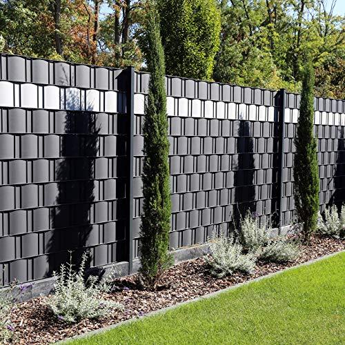 Premium Zaunsichtschutz HART-PVC / 1 x Streifen 2,525 m (1,94 EUR/m) / Höhe 19 cm Fenstergrau - Zaun Sichtschutzstreifen Fachhandelsware für Doppelstabmattenzaun Zaun Sichtschutz grau - keine Folie