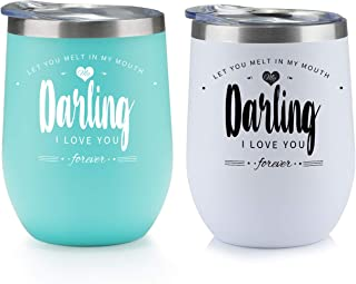 ONEB Gift of love, 2 pack - 12oz Stainless Steel Novelty Wine Tumbler, Double vacuum insulated couple cup,Valentine's Day, girlfriends, the best gift for lovers (Couple models)