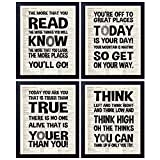 akeke Dr. Seuss Quotes and Saying Vintage Book Wall Art Prints - Set of Four 8'x10' Unframed - Motivational Inspirational Classroom Office Child/Boy/Girl/Nursery Room Decor