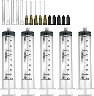 5 Pack 100ml Syringes with 14Gx1.0'' Blunt Tip Fill Needles and Storage Caps(Luer Lock)¡