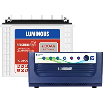 Luminous Eco Volt + 1550 1400VA with Red Charge RC25000 200Ah Tall Tubular Battery