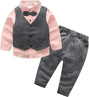 Kimocat Boys 3Pcs Clothing Sets Cotton Long Sleeve Bowtie Shirts +Vest +Pants Casual Suit