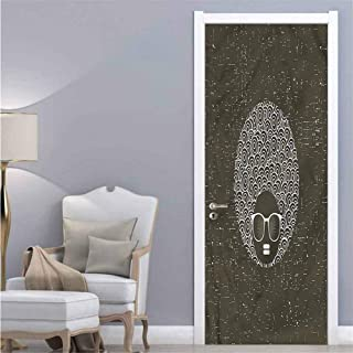 Black Woman,Self Adhesive Wall Sticker Afro Hair Curvy Circles Removable 3D Decals W38.5xH79