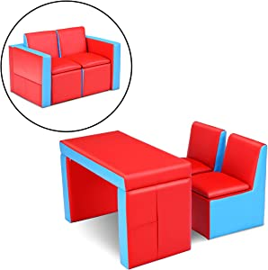 HONEY JOY Kids Sofa, 2-in-1 Table and Two Chairs Set, Toddler Lounge Armrest Chair with Wooden Frame & Storage Space, Children Boys Girls Couch Loveseat for Bedroom and Living Room (Red)