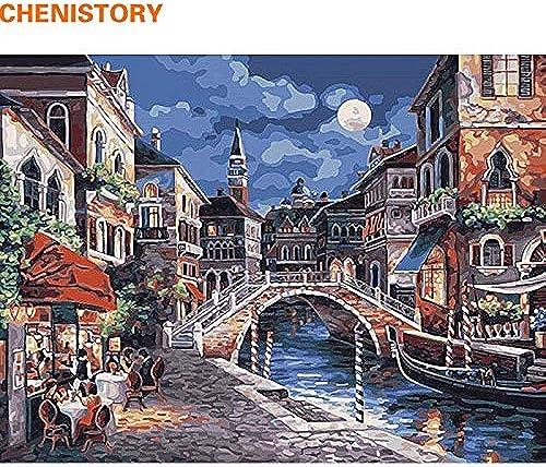 tienda hace compras y ventas KYKDY Moonlight Town tradicional pintura pintura pintura de DIY por números pintura acrílica de Yourselve con marco para regalo de parojo único, 40x50cm marco de madera  Precio al por mayor y calidad confiable.