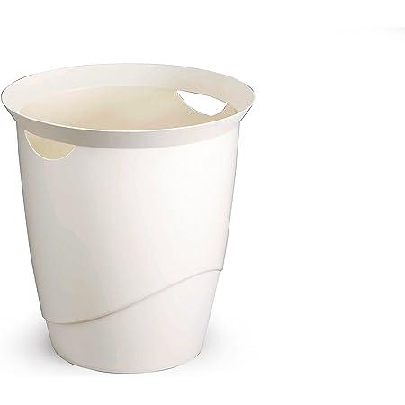 Durable 1701710010 Trend Corbeille à Papier Bureau Poignées Intégrées Plastique Blanc Opaque 16 Litres Hauteur 33cm
