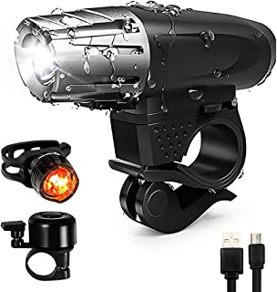 Bike Bicycle Light Set Rechargeable - Super Bright USB Rechargeable LED Bicycle Lights Front and Rear, 4 Light Mode Waterproof Headlight Easy To Install Fits All Bike/Bicycles, Hybrid, Road, MTB