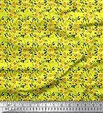 Soimoi Gelb Schwere Canvas Stoff Blätter & Blumenmuster