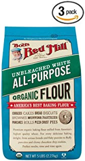 Bob's Red Mill Organic White Flour - Unbleached - 5 lb - Pack of 3