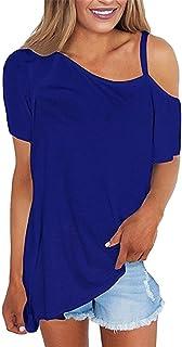 TOPUNDER Women's Cold Shoulder Tops Short Sleeve Shirts Asymmetrical Hem Loose Blouse