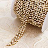 Rhinestone Trim by The Yard in 3 Colors Fashion 5 Row Crystal Cup Chain Trim Belt for Dress Belts DIY Jewelry Making Clothes Accessory (Gold)