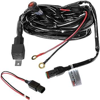 Niwaker 12V 40A LED Light Bar Wiring Harness Kit Nylon Heavy Duty Wiring Harness for Off Road Driving Lights Rocker Switch Relay Fuse for Truck Jeep UTV ATV Marine Wiring Harness 1 Lead