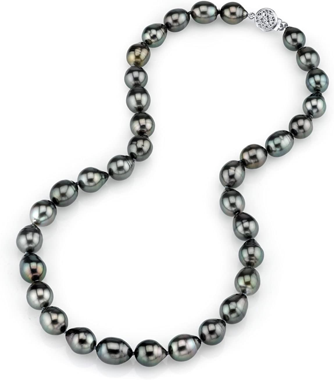 THE PEARL SOURCE 14K Gold 9-10mm Baroque Genuine Black Tahitian South Sea Cultured Pearl Necklace in 17