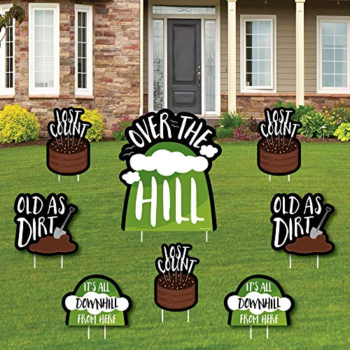 Over The Hill Birthday - Yard Sign and Outdoor Lawn Decorations - Birthday Party Yard Signs - Set of 8