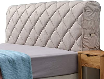 Stretch HeadboardsFlannel StretchBackrest Cover Nordic Style All-Inclusive Headboards for Beds Cover Protective Wood Leather Bed Cover Curved (Color : Light Gray, Size : 1.8x65x35cm)