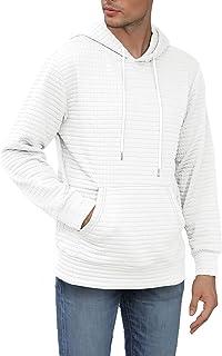 Men's Pullover Hoodie Long Sleeve Sweatshirt Casual Hooded Square Pattern