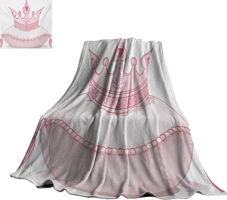 RenteriaDecor Queen,Plush Blanket Cartoon Style Cute Pink Princess
