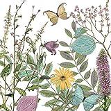 Home Collection Casa Cucina Decorazione Accessori Set 40 Tovaglioli Monouso Carta 3 veli 33 x 33 cm Motivo Farfalle Fiori Natura