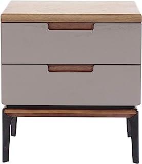 Marque Amazon - Rivet Table d'appoint, 50x40x54,5cm, Finition noyer/gris