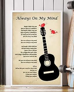 Mattata Decor Gift - Always on My Mind Song Lyrics Portrait Poster Print (12