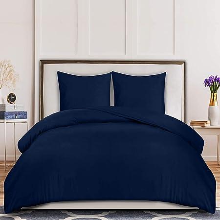 Utopia Bedding Housse de Couette 220x240 cm avec 2 Taies d'oreiller 65x65 cm - (Bleu Marine) Parure de Lit 2 Personnes avec Fermeture Éclair - Sets de Housse Couette en Microfibre