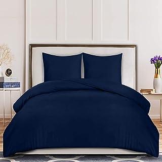 Utopia Bedding Housse de Couette 220x240 cm avec 2 Taies d'oreiller 65x65 cm - (Bleu Marine) Parure de Lit 2 Personnes ave...